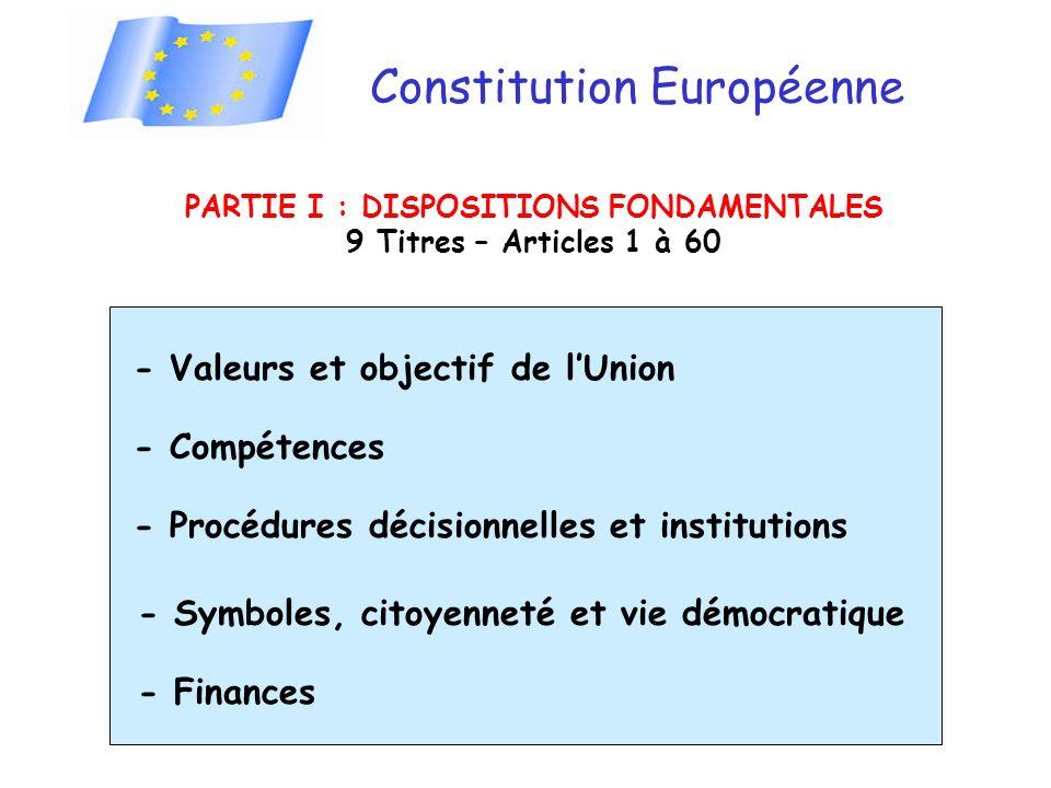 Constitution Européenne PARTIE I : DISPOSITIONS FONDAMENTALES 9 Titres – Articles 1 à 60 - Valeurs et objectif de lUnion - Compétences - Procédures décisionnelles et institutions - Symboles, citoyenneté et vie démocratique - Finances