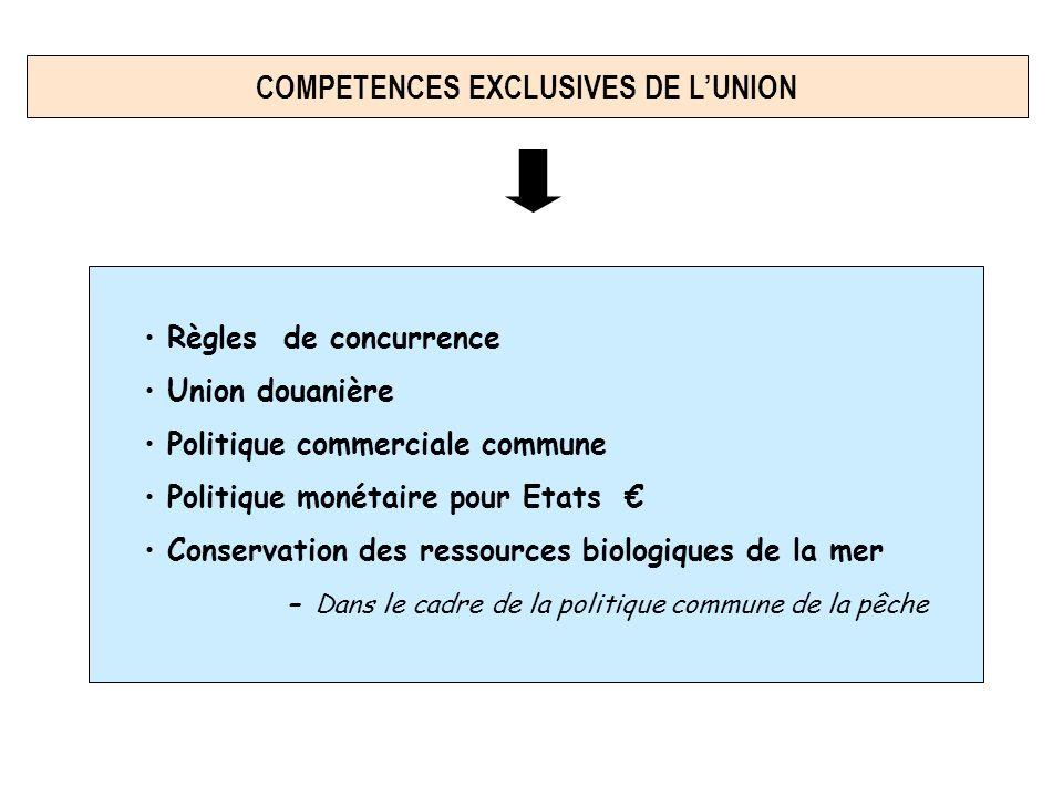 Règles de concurrence Union douanière Politique commerciale commune Politique monétaire pour Etats Conservation des ressources biologiques de la mer - Dans le cadre de la politique commune de la pêche COMPETENCES EXCLUSIVES DE LUNION