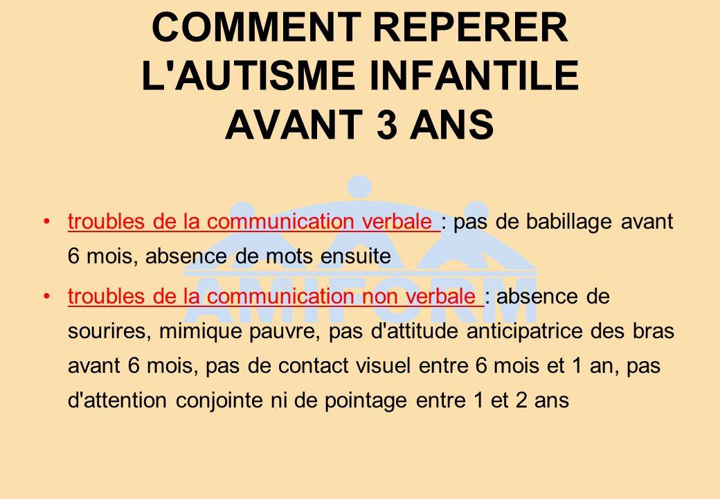 COMMENT REPERER L'AUTISME INFANTILE AVANT 3 ANS troubles de la communication verbale : pas de babillage avant 6 mois, absence de mots ensuite troubles