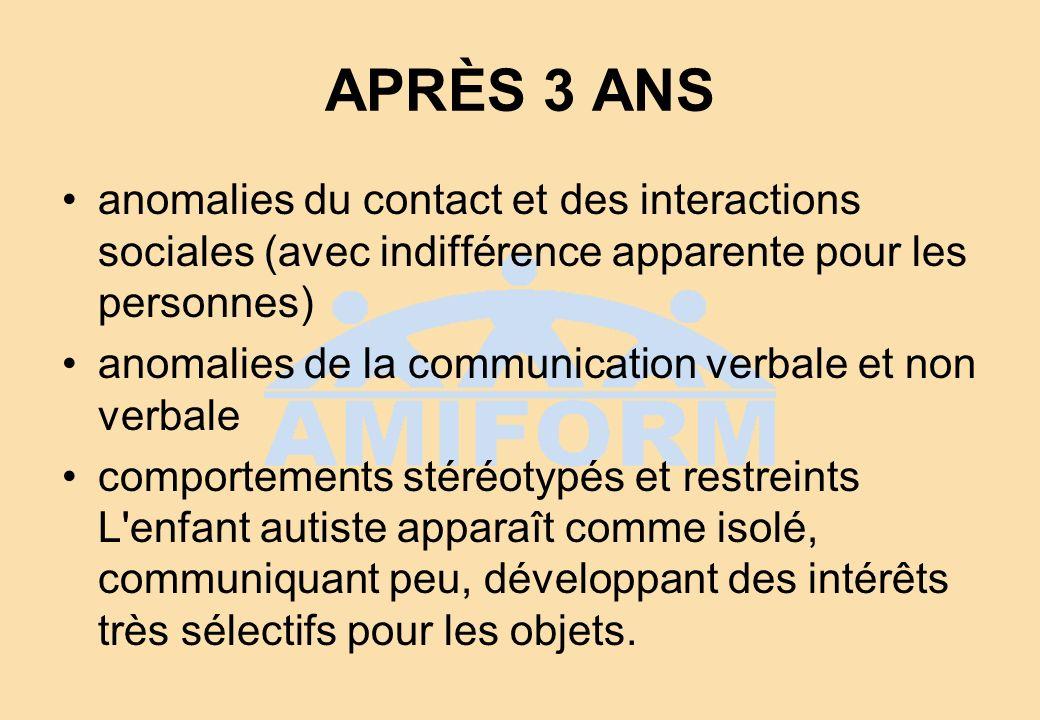 APRÈS 3 ANS anomalies du contact et des interactions sociales (avec indifférence apparente pour les personnes) anomalies de la communication verbale e