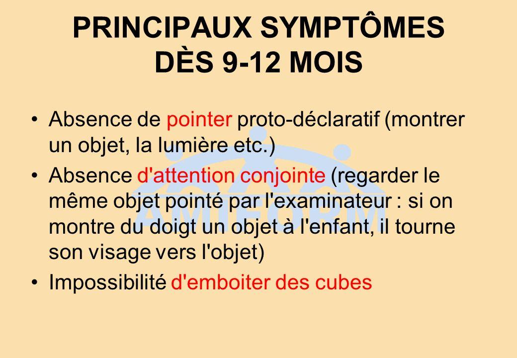 PRINCIPAUX SYMPTÔMES DÈS 9-12 MOIS Absence de pointer proto-déclaratif (montrer un objet, la lumière etc.) Absence d'attention conjointe (regarder le