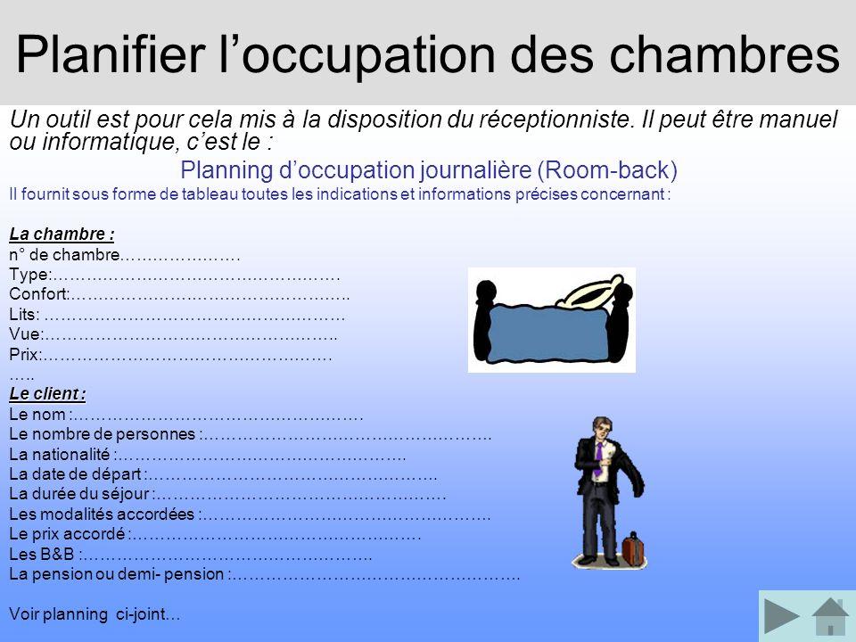Planifier loccupation des chambres Un outil est pour cela mis à la disposition du réceptionniste. Il peut être manuel ou informatique, cest le : Plann