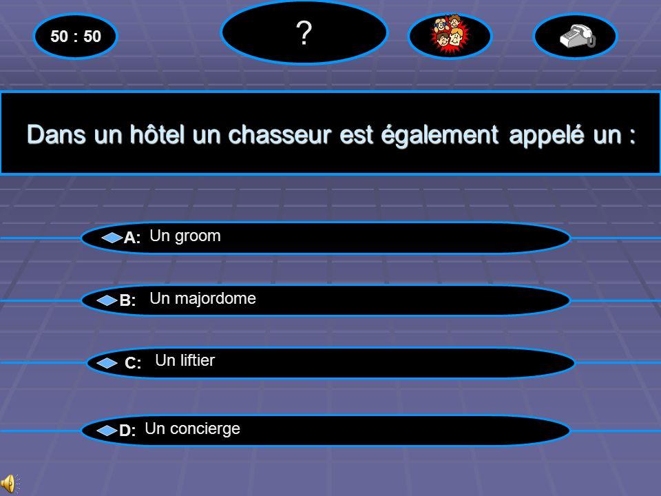 A partir de combien détoile le room service est obligatoire dans les hôtels en France? A: B: C: D: 50 : 50 ? 2 étoiles 3 étoiles 4 étoiles 4 étoiles L