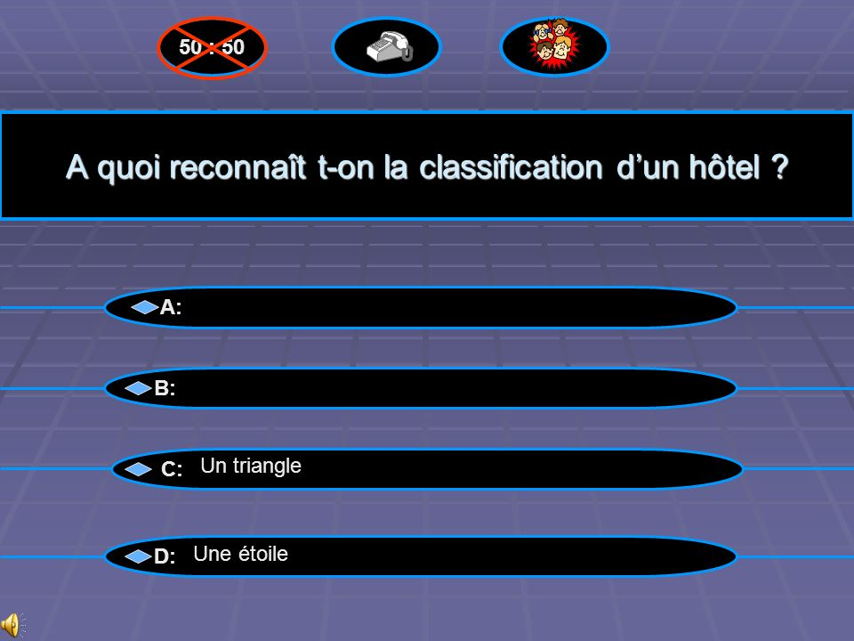 Pyramide des gains 50 : 50 Questions suivantes 15 :«Qualification obtenue » 15 :«Qualification obtenue » Niveau 14 Niveau 14 Niveau 13 Niveau 13 Nivea