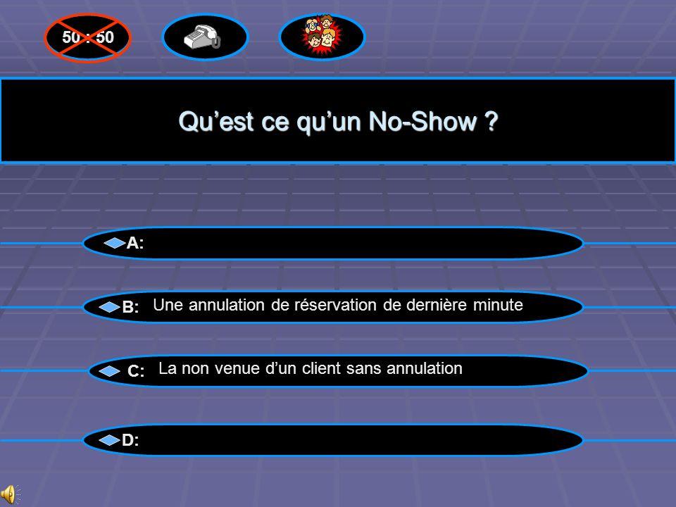 Bravo! A: B: C: D: 50 : 50 La non venue dun client sans annulation Questions suivantes suivantes