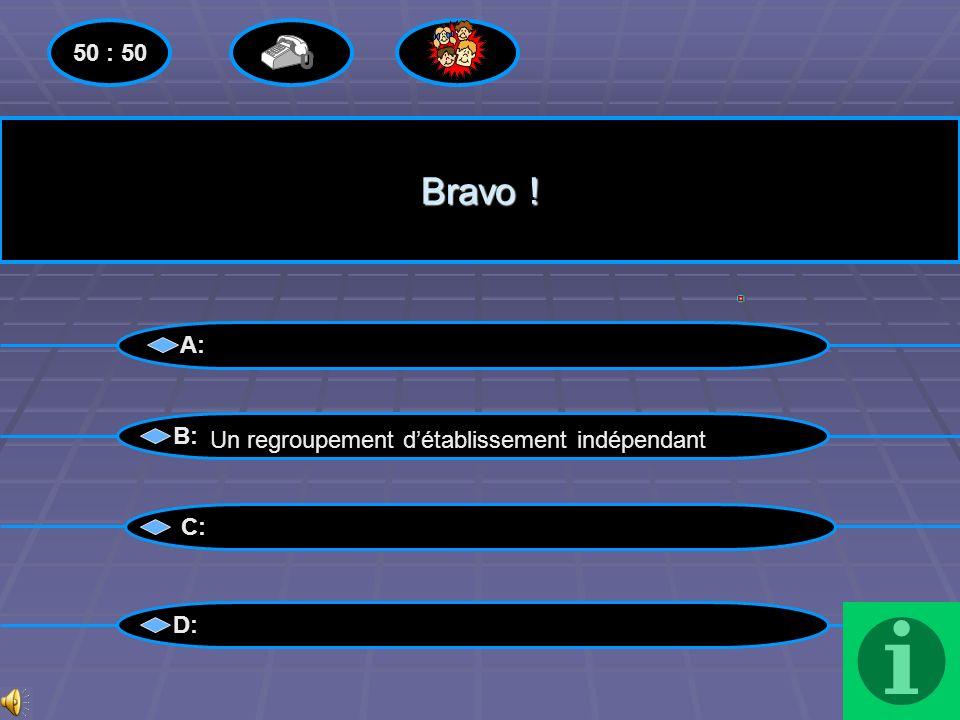 Perdu !! A: B: C: D: 50 : 50 Un regroupement détablissement indépendant Menu