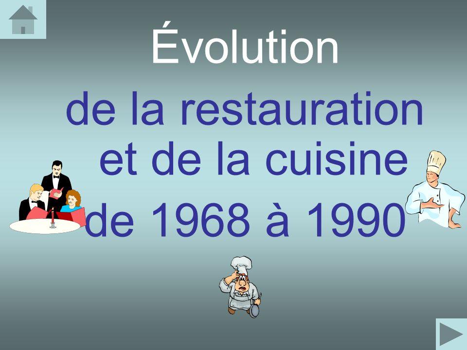 Évolution de la restauration et de la cuisine de 1968 à 1990