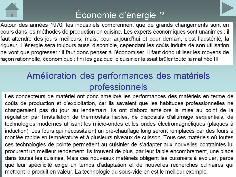 Amélioration des performances des matériels professionnels Économie dénergie ?