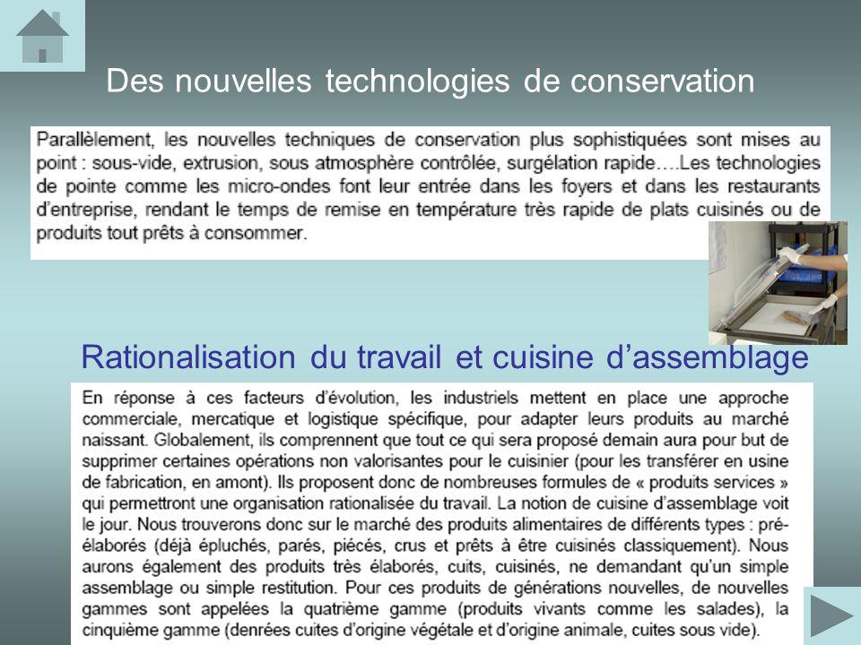Des nouvelles technologies de conservation Rationalisation du travail et cuisine dassemblage