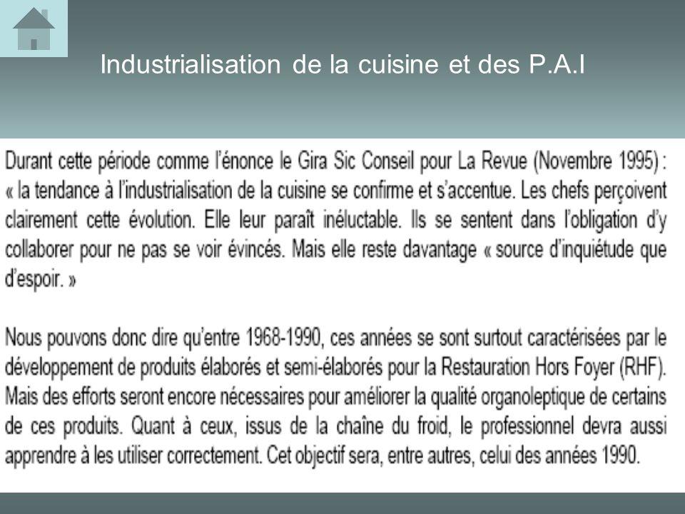 Industrialisation de la cuisine et des P.A.I