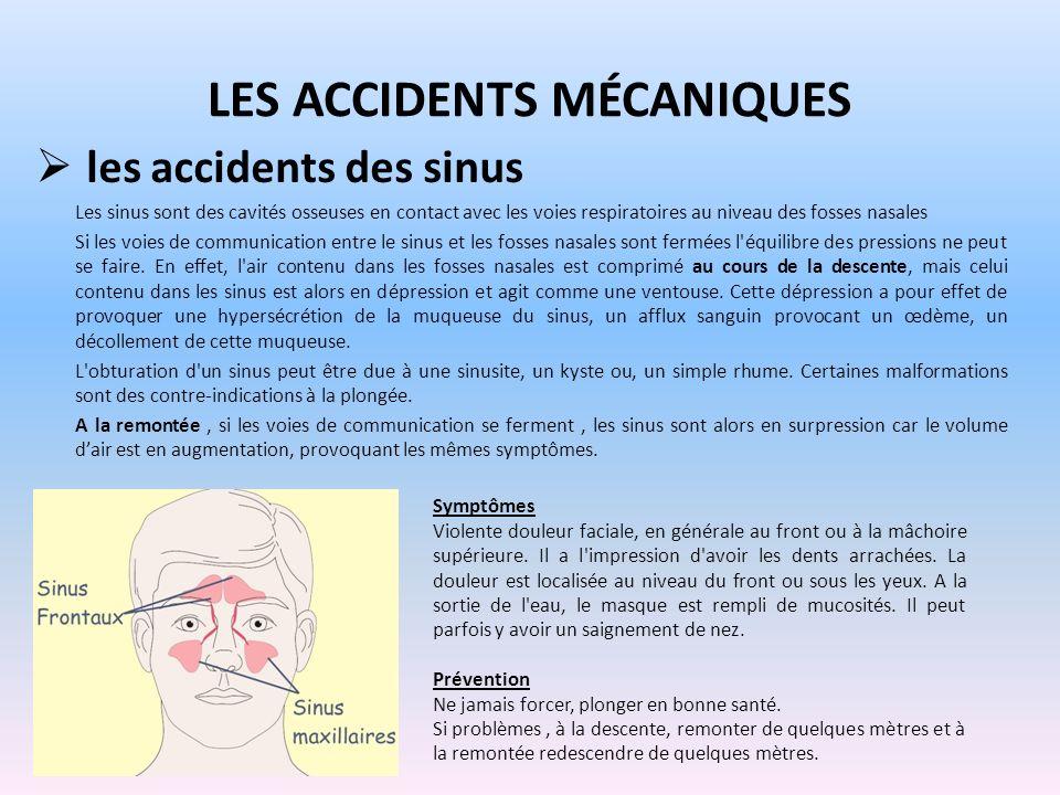 LES ACCIDENTS MÉCANIQUES les accidents des sinus Les sinus sont des cavités osseuses en contact avec les voies respiratoires au niveau des fosses nasa