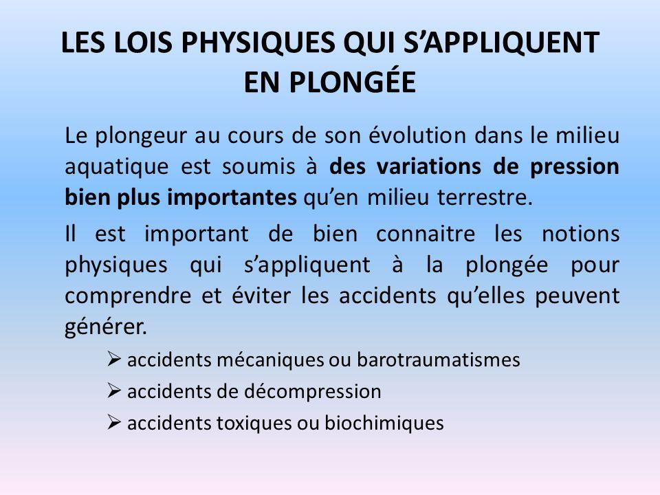LES LOIS PHYSIQUES QUI SAPPLIQUENT EN PLONGÉE Le plongeur au cours de son évolution dans le milieu aquatique est soumis à des variations de pression b