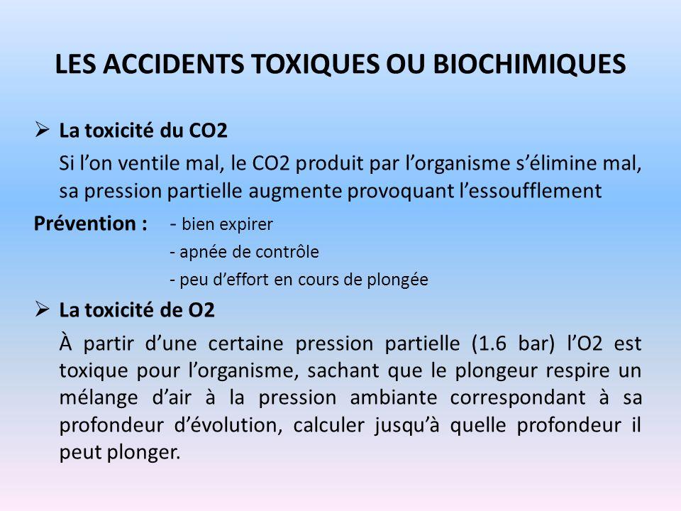LES ACCIDENTS TOXIQUES OU BIOCHIMIQUES La toxicité du CO2 Si lon ventile mal, le CO2 produit par lorganisme sélimine mal, sa pression partielle augmen