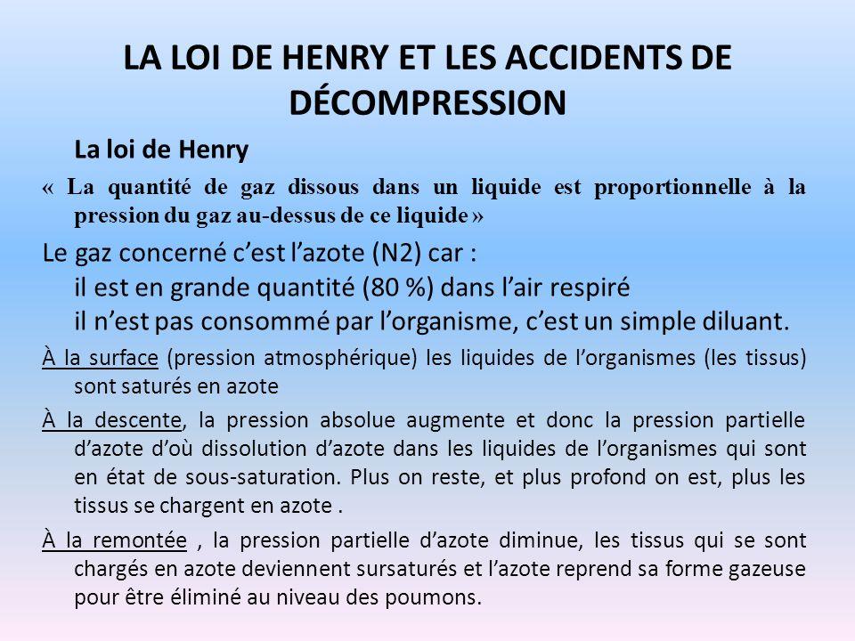 LA LOI DE HENRY ET LES ACCIDENTS DE DÉCOMPRESSION La loi de Henry « La quantité de gaz dissous dans un liquide est proportionnelle à la pression du ga