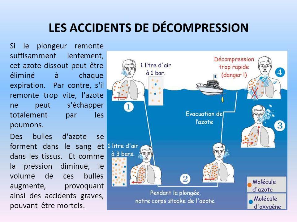 LES ACCIDENTS DE DÉCOMPRESSION Si le plongeur remonte suffisamment lentement, cet azote dissout peut être éliminé à chaque expiration. Par contre, s'i