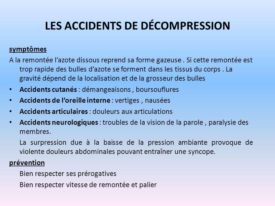 LES ACCIDENTS DE DÉCOMPRESSION symptômes A la remontée lazote dissous reprend sa forme gazeuse. Si cette remontée est trop rapide des bulles dazote se