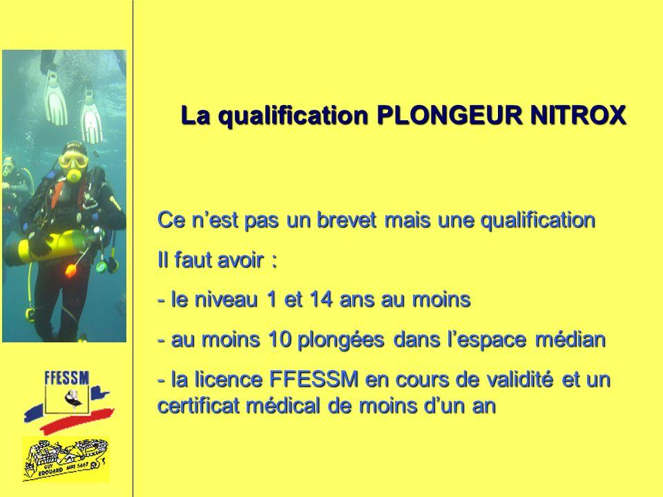 La qualification PLONGEUR NITROX Ce nest pas un brevet mais une qualification Il faut avoir : - le niveau 1 et 14 ans au moins - au moins 10 plongées