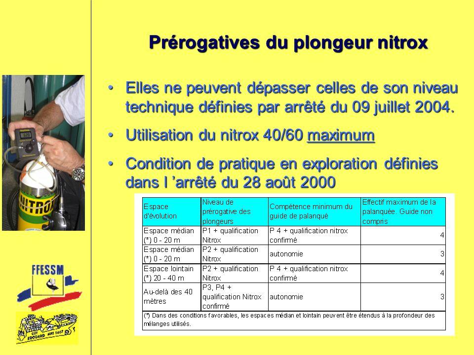 Prérogatives du plongeur nitrox Elles ne peuvent dépasser celles de son niveau technique définies par arrêté du 09 juillet 2004.Elles ne peuvent dépas
