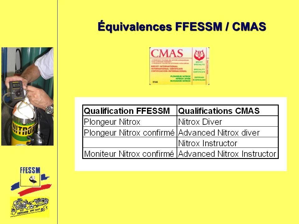 Équivalences FFESSM / CMAS
