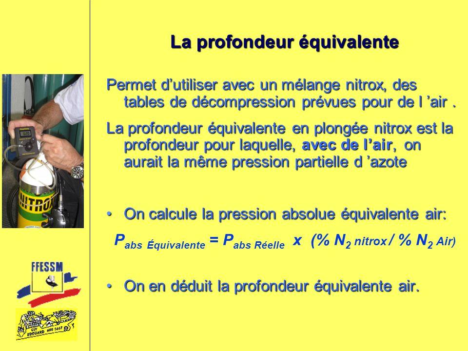 La profondeur équivalente Permet dutiliser avec un mélange nitrox, des tables de décompression prévues pour de l air. La profondeur équivalente en plo