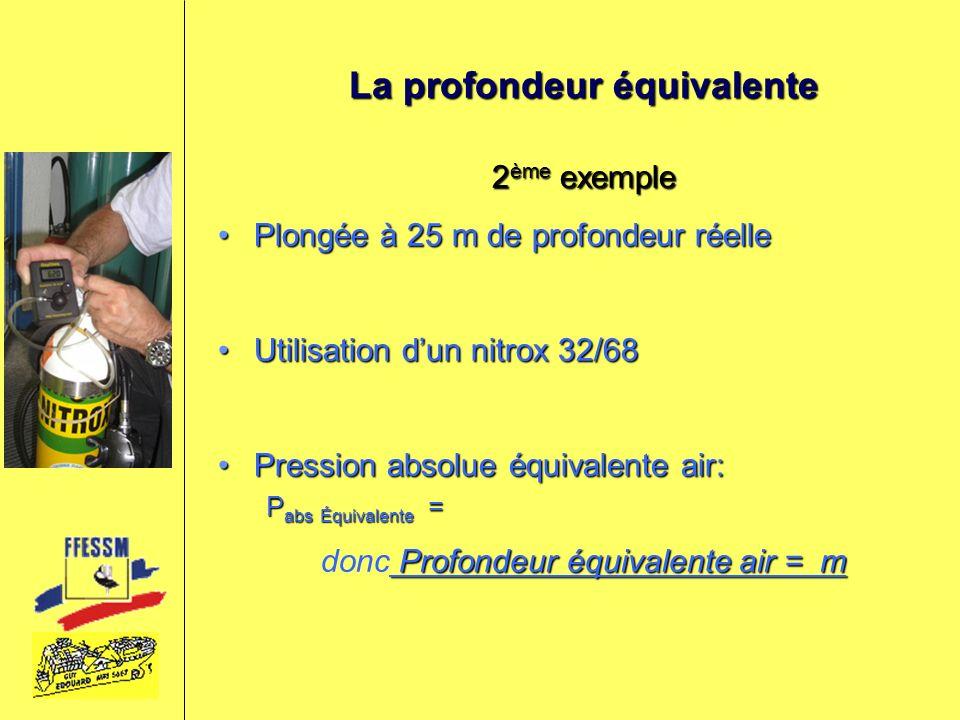 La profondeur équivalente 2 ème exemple Plongée à 25 m de profondeur réellePlongée à 25 m de profondeur réelle Utilisation dun nitrox 32/68Utilisation