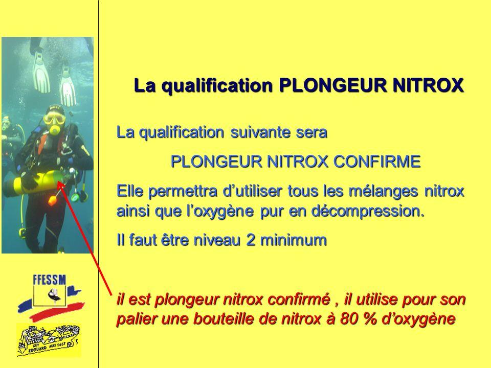 La qualification PLONGEUR NITROX La qualification suivante sera PLONGEUR NITROX CONFIRME Elle permettra dutiliser tous les mélanges nitrox ainsi que l