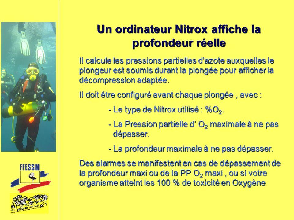 Un ordinateur Nitrox affiche la profondeur réelle Il calcule les pressions partielles d'azote auxquelles le plongeur est soumis durant la plongée pour