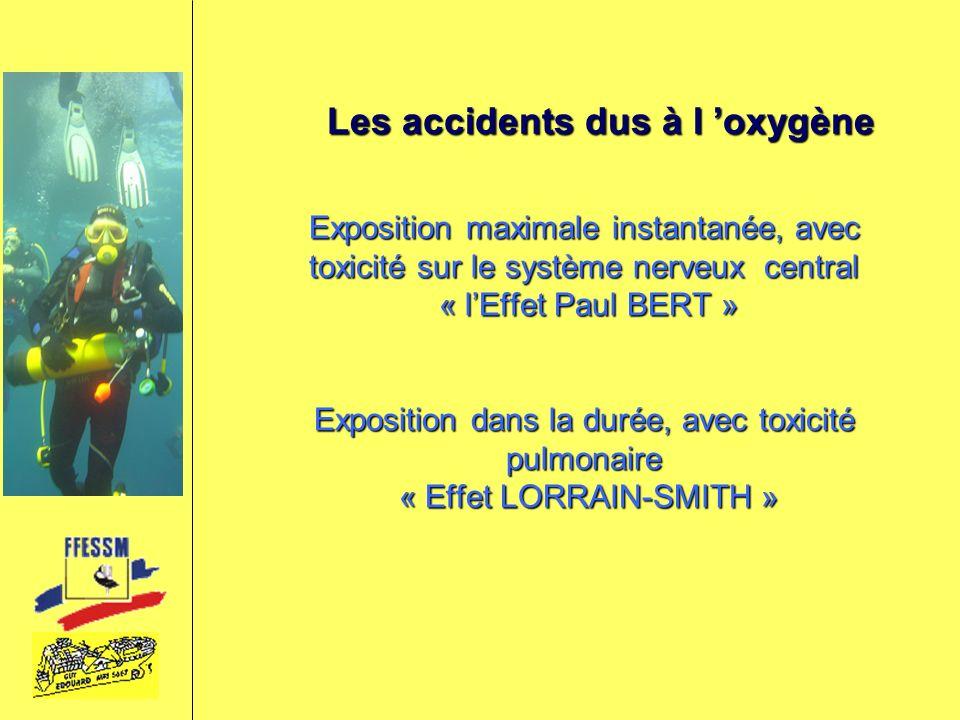 Les accidents dus à l oxygène Exposition maximale instantanée, avec toxicité sur le système nerveux central « lEffet Paul BERT » Exposition dans la du