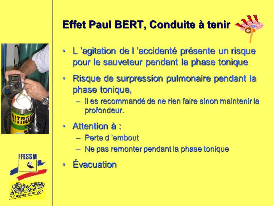 Effet Paul BERT, Conduite à tenir L agitation de l accidenté présente un risque pour le sauveteur pendant la phase toniqueL agitation de l accidenté p