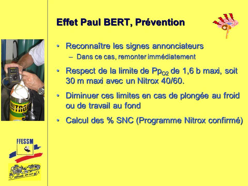 Effet Paul BERT, Prévention Reconnaître les signes annonciateursReconnaître les signes annonciateurs –Dans ce cas, remonter immédiatement Respect de l