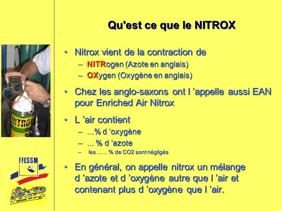 Qu est ce que le NITROX Nitrox vient de la contraction deNitrox vient de la contraction de –NITRogen (Azote en anglais) –OXygen (Oxygène en anglais) Chez les anglo-saxons ont l appelle aussi EAN pour Enriched Air NitroxChez les anglo-saxons ont l appelle aussi EAN pour Enriched Air Nitrox L air contientL air contient –21 % d oxygène –79 % d azote – les 0.03 % de CO2 sont négligés En général, on appelle nitrox un mélange d azote et d oxygène autre que l air et contenant plus d oxygène que l air.En général, on appelle nitrox un mélange d azote et d oxygène autre que l air et contenant plus d oxygène que l air.