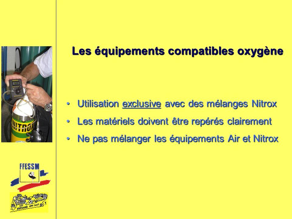 Les équipements compatibles oxygène Utilisation exclusive avec des mélanges NitroxUtilisation exclusive avec des mélanges Nitrox Les matériels doivent