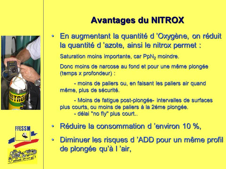 Inconvénients du NITROX Au delà dune certaine profondeur l oxygène devient toxique (Hyperoxie)Au delà dune certaine profondeur l oxygène devient toxique (Hyperoxie) La fabrication du mélange demande une grande attention et un matériel spécifiqueLa fabrication du mélange demande une grande attention et un matériel spécifique Le matériel doit être compatible oxygène si le pourcentage d O 2 est supérieur à 40 %.Le matériel doit être compatible oxygène si le pourcentage d O 2 est supérieur à 40 %.