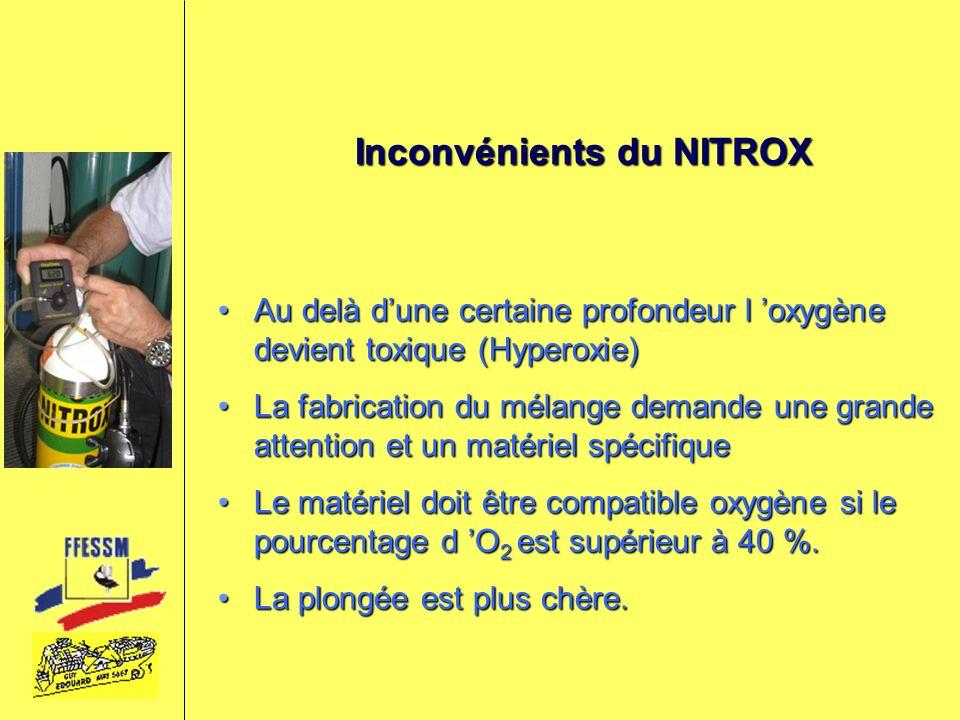 Inconvénients du NITROX Au delà dune certaine profondeur l oxygène devient toxique (Hyperoxie)Au delà dune certaine profondeur l oxygène devient toxiq