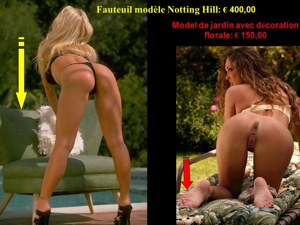 Fauteuil modèle Notting Hill : 400,00 Model de jardin avec d é coration florale: 150,00