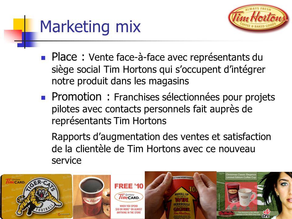 Marketing mix Place : Vente face-à-face avec représentants du siège social Tim Hortons qui soccupent dintégrer notre produit dans les magasins Promoti