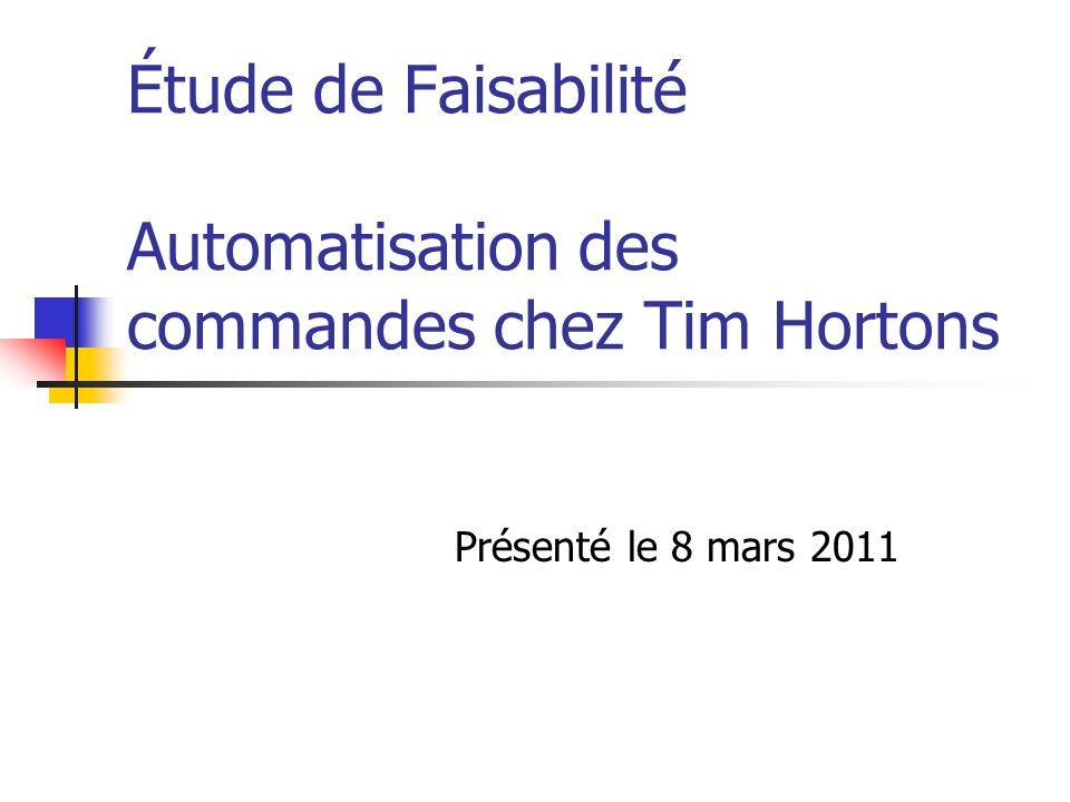 Étude de Faisabilité Automatisation des commandes chez Tim Hortons Présenté le 8 mars 2011