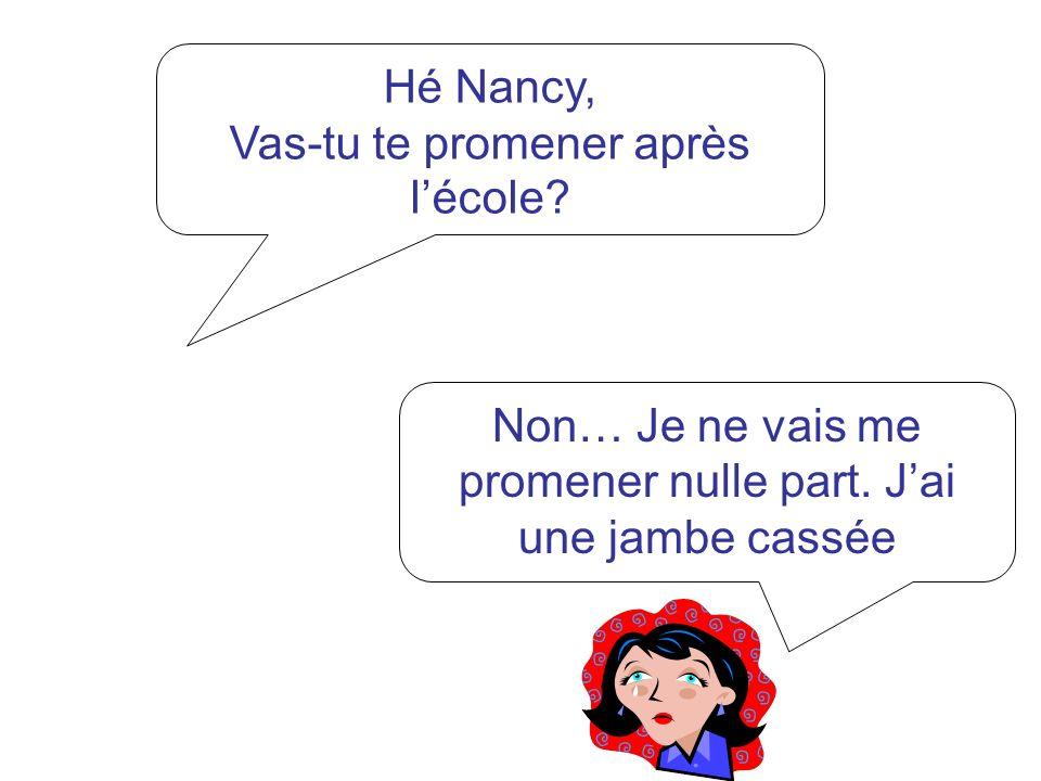 Hé Nancy, Vas-tu te promener après lécole? Non… Je ne vais me promener nulle part. Jai une jambe cassée