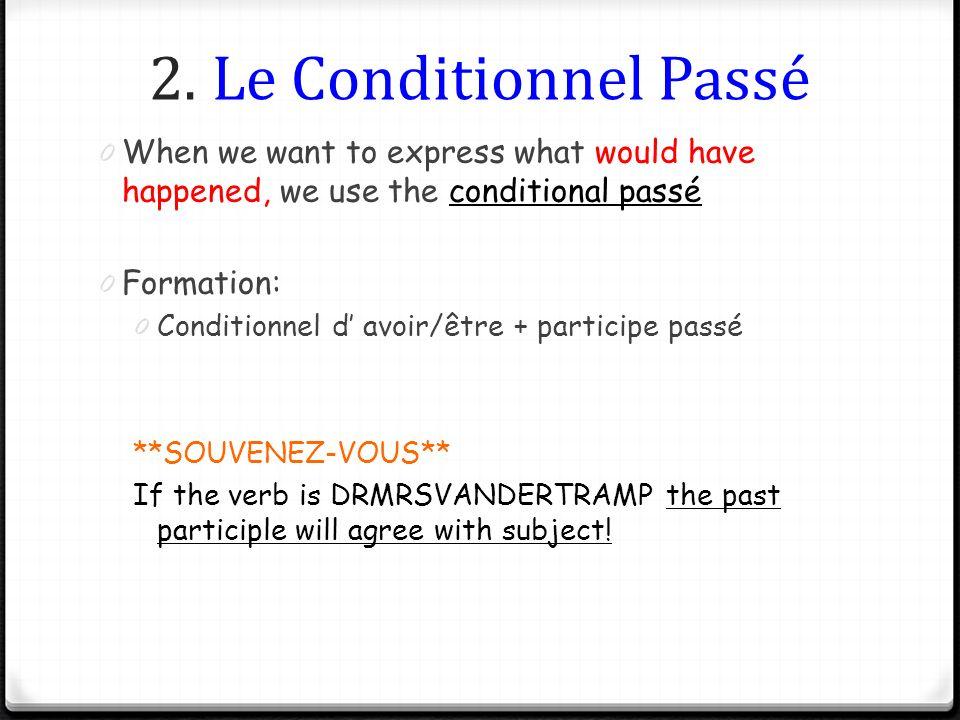 2. Le Conditionnel Passé 0 When we want to express what would have happened, we use the conditional passé 0 Formation: 0 Conditionnel d avoir/être + p