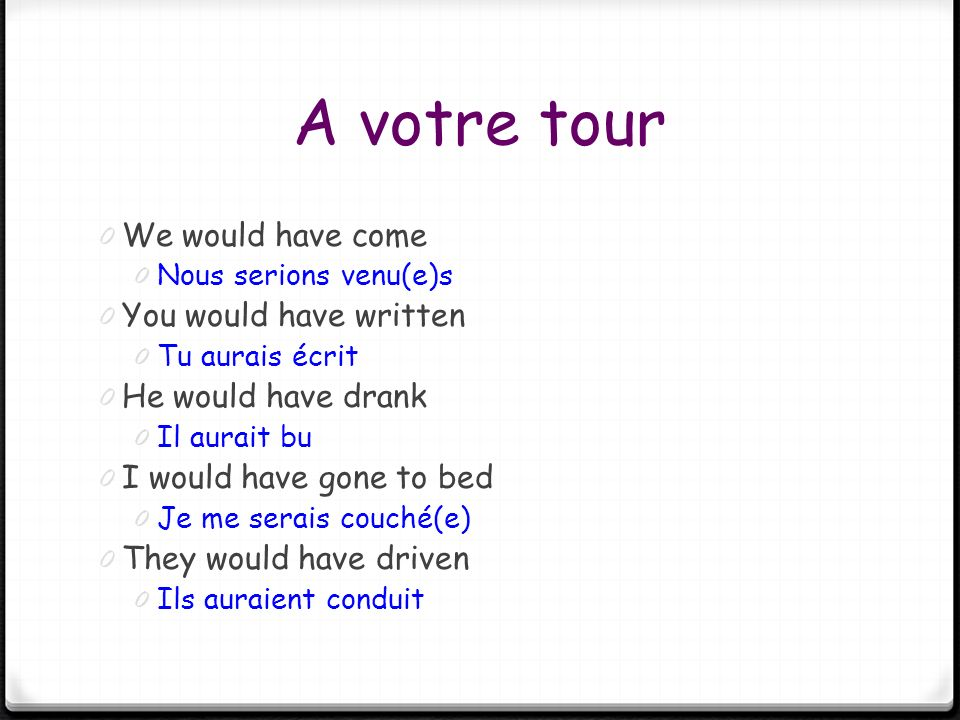 A votre tour 0 We would have come 0 Nous serions venu(e)s 0 You would have written 0 Tu aurais écrit 0 He would have drank 0 Il aurait bu 0 I would ha