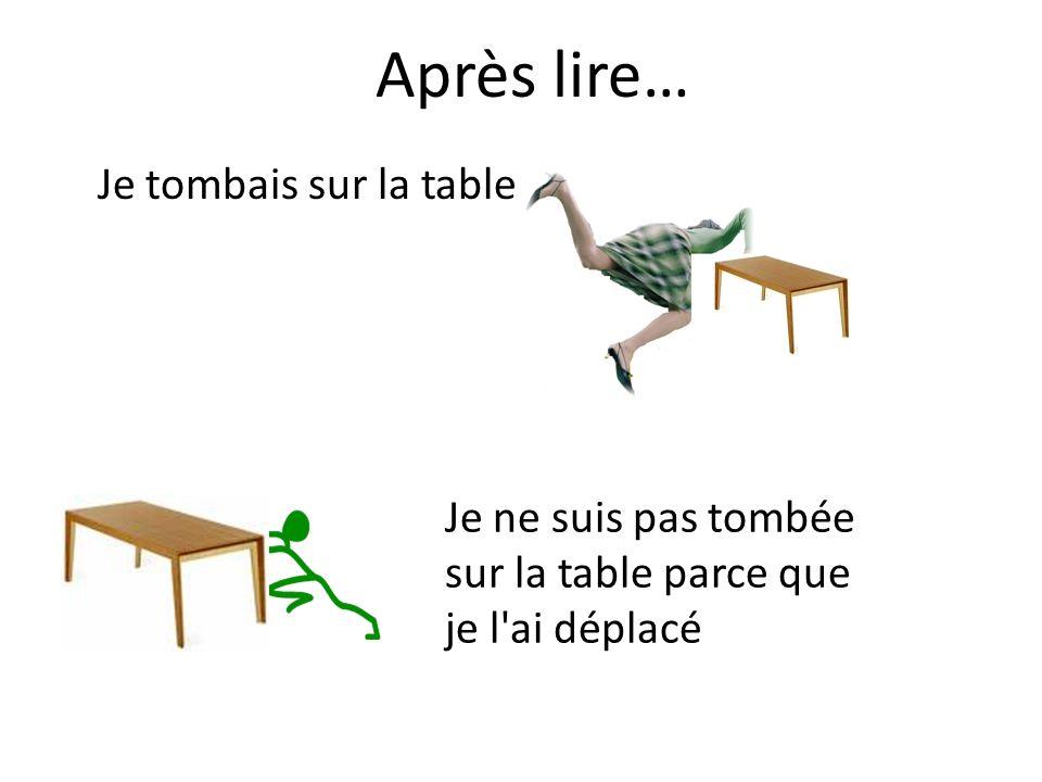 Je tombais sur la table Je ne suis pas tombée sur la table parce que je l ai déplacé Après lire…