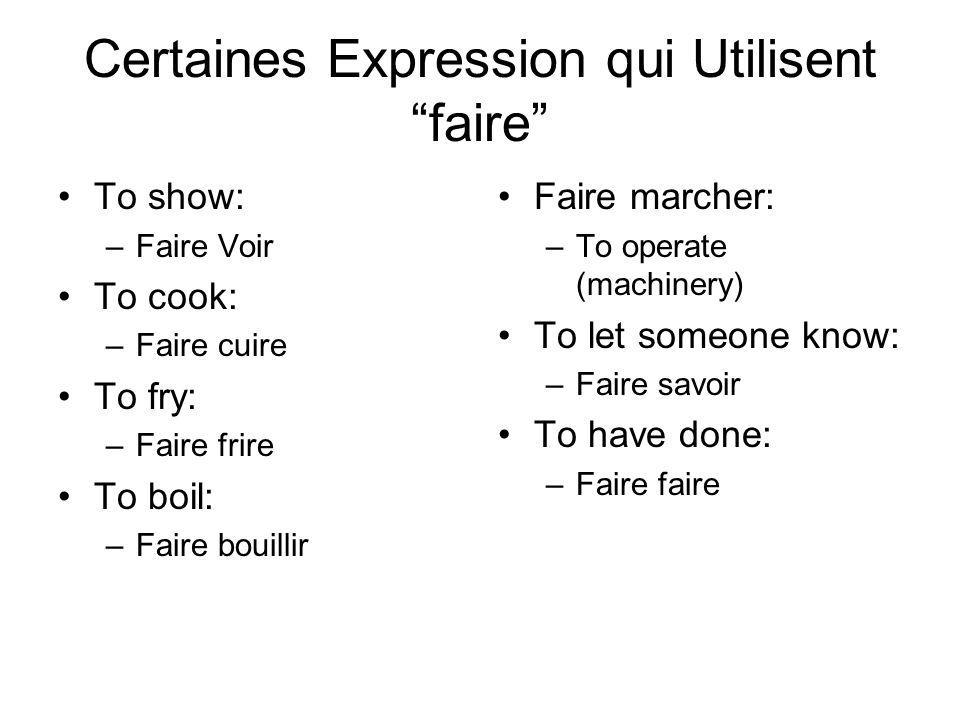 Certaines Expression qui Utilisent faire To show: –Faire Voir To cook: –Faire cuire To fry: –Faire frire To boil: –Faire bouillir Faire marcher: –To operate (machinery) To let someone know: –Faire savoir To have done: –Faire faire
