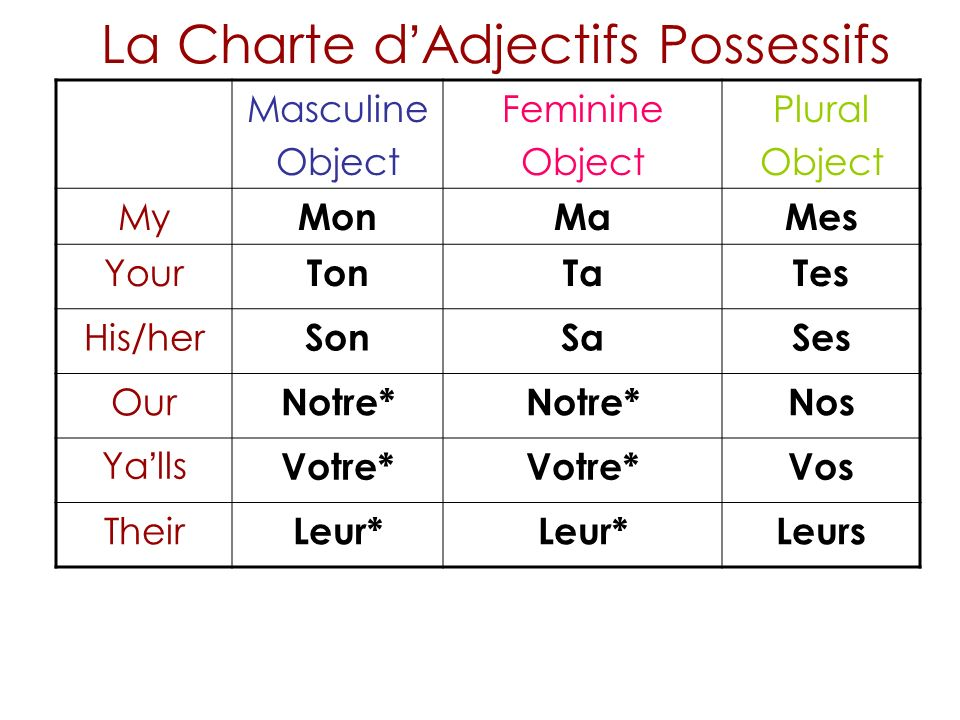 Masculine Object Feminine Object Plural Object My MonMaMes Your TonTaTes His/her SonSaSes Our Notre* Nos Ya lls Votre* Vos Their Leur* Leurs La Charte