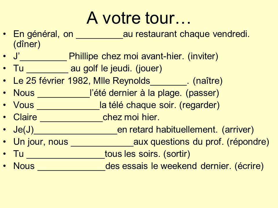 A votre tour… En général, on _________au restaurant chaque vendredi. (dîner) J_________ Phillipe chez moi avant-hier. (inviter) Tu ________ au golf le
