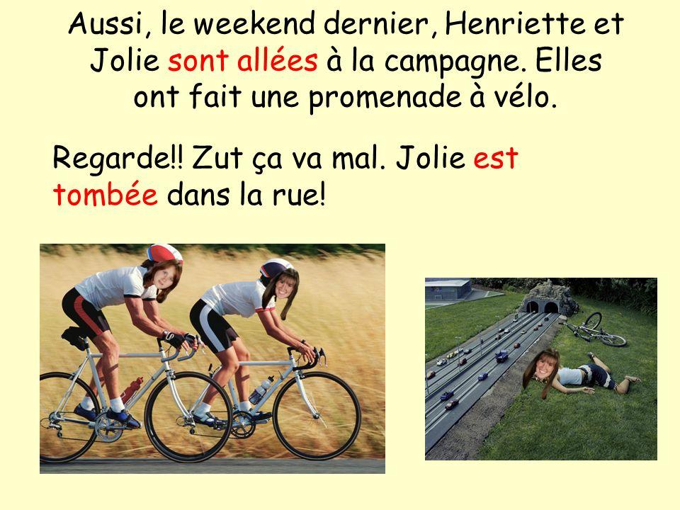 Aussi, le weekend dernier, Henriette et Jolie sont allées à la campagne. Elles ont fait une promenade à vélo. Regarde!! Zut ça va mal. Jolie est tombé