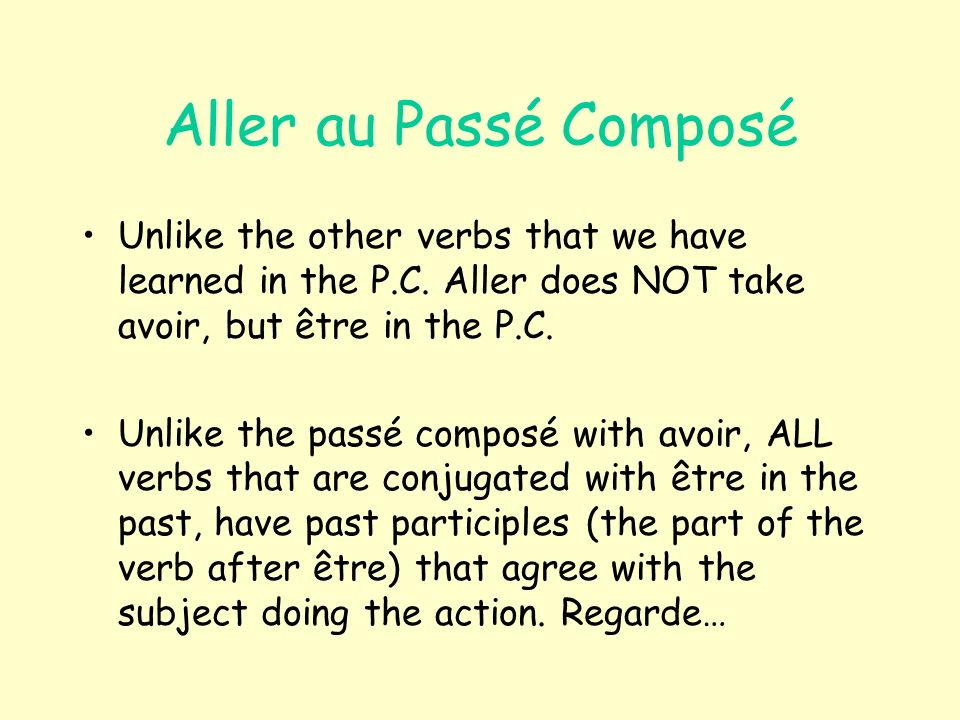 Aller au Passé Composé Unlike the other verbs that we have learned in the P.C.
