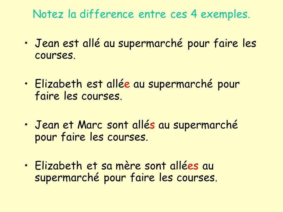 Notez la difference entre ces 4 exemples. Jean est allé au supermarché pour faire les courses.