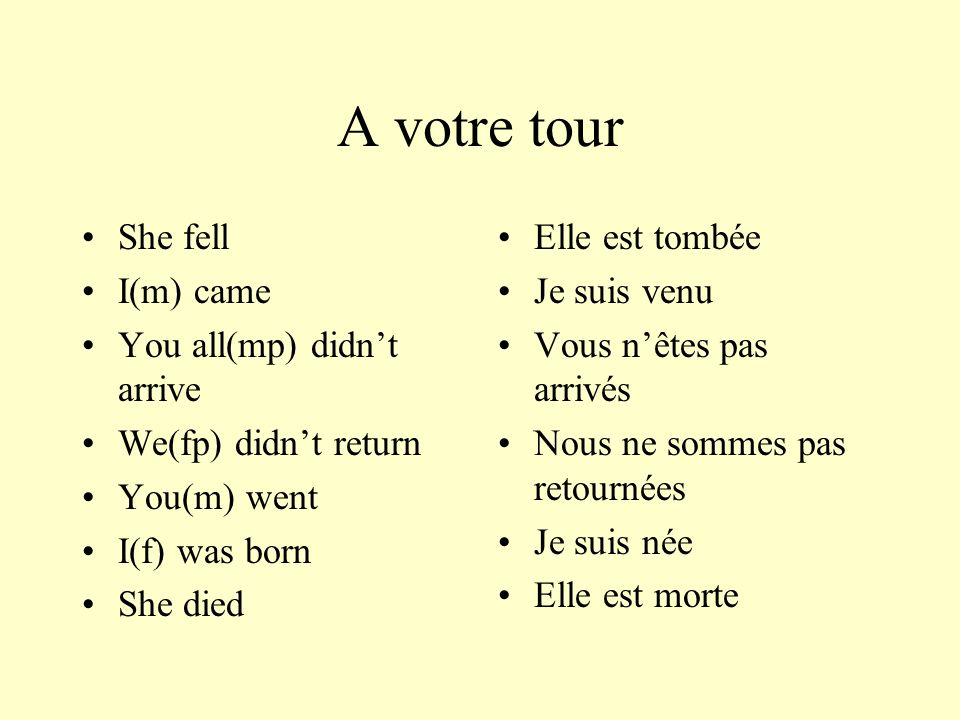 A votre tour She fell I(m) came You all(mp) didnt arrive We(fp) didnt return You(m) went I(f) was born She died Elle est tombée Je suis venu Vous nête