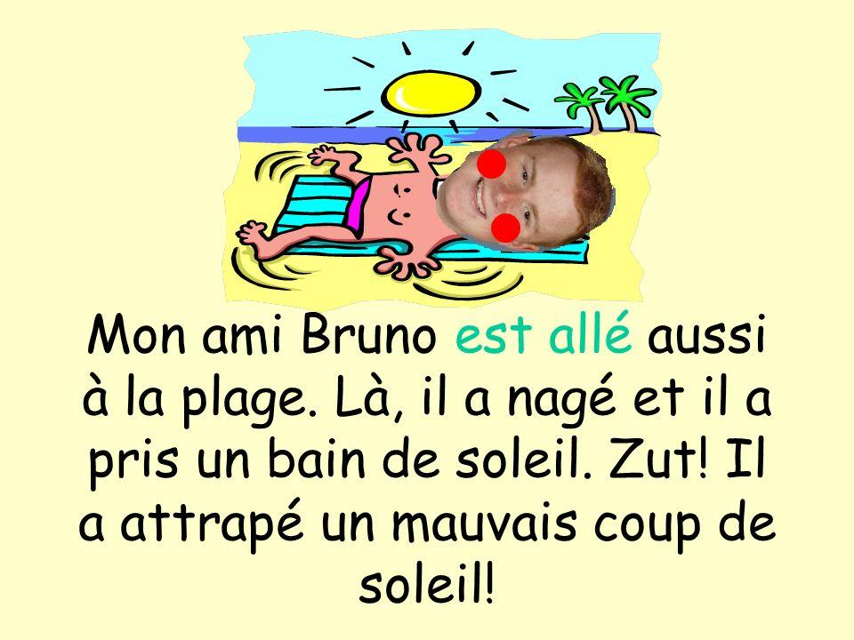 Mon ami Bruno est allé aussi à la plage. Là, il a nagé et il a pris un bain de soleil. Zut! Il a attrapé un mauvais coup de soleil!