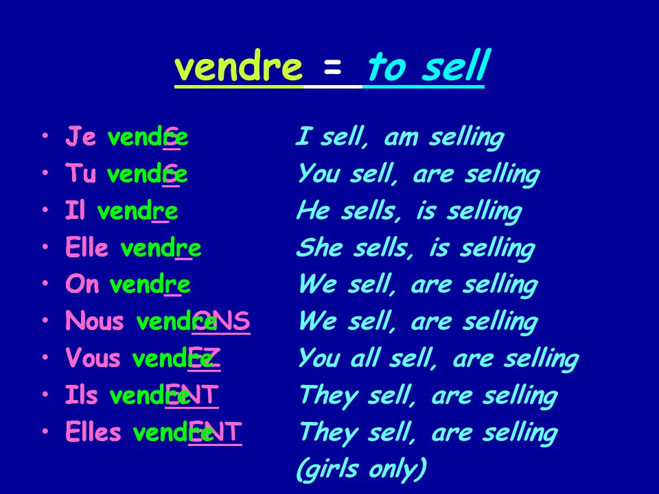 vendre = to sell I sell, am selling You sell, are selling He sells, is selling She sells, is selling We sell, are selling You all sell, are selling Th